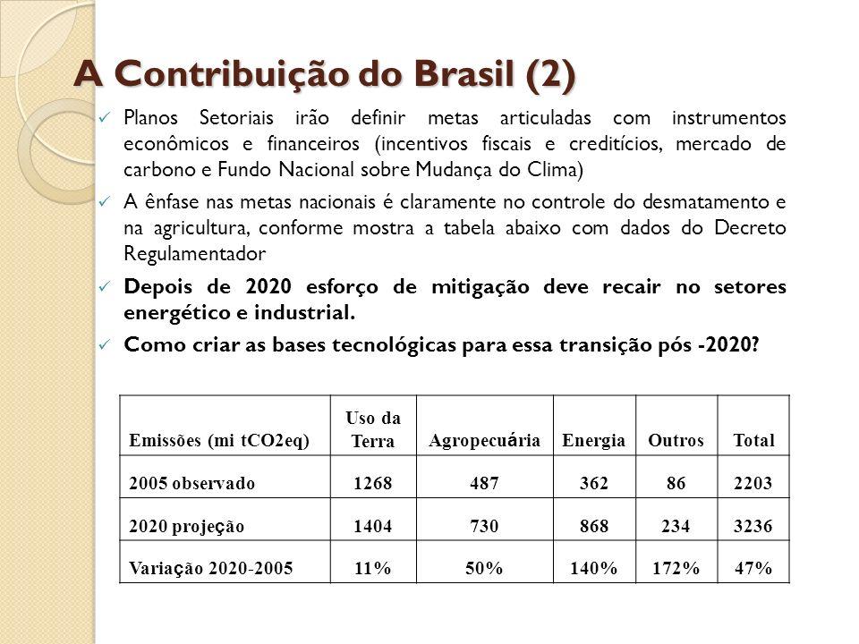 A Contribuição do Brasil (2) Planos Setoriais irão definir metas articuladas com instrumentos econômicos e financeiros (incentivos fiscais e creditíci