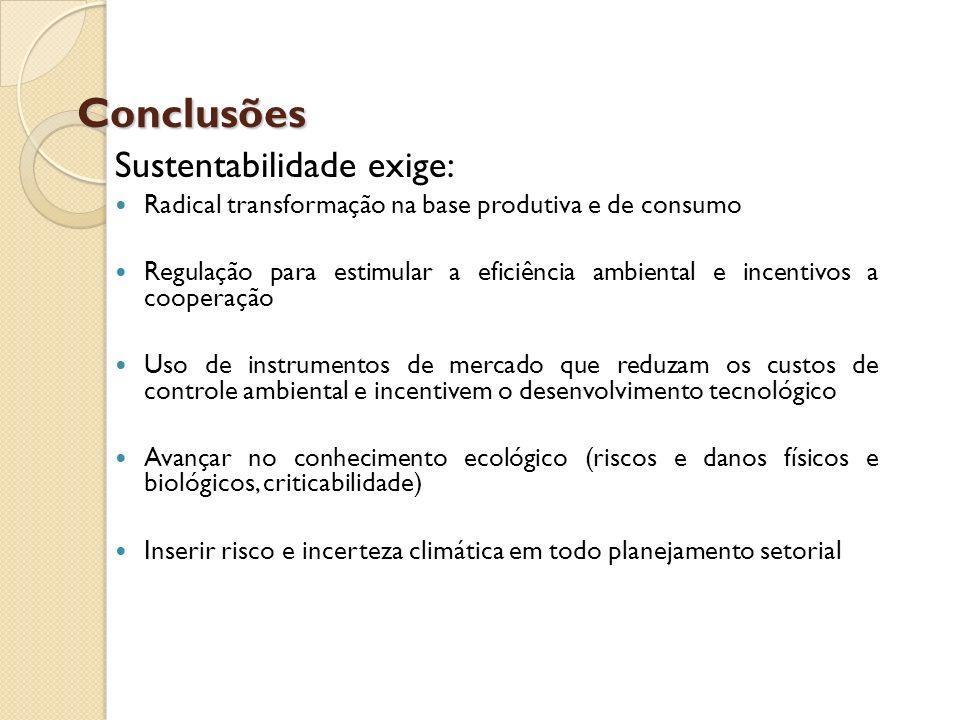 Conclusões Sustentabilidade exige: Radical transformação na base produtiva e de consumo Regulação para estimular a eficiência ambiental e incentivos a