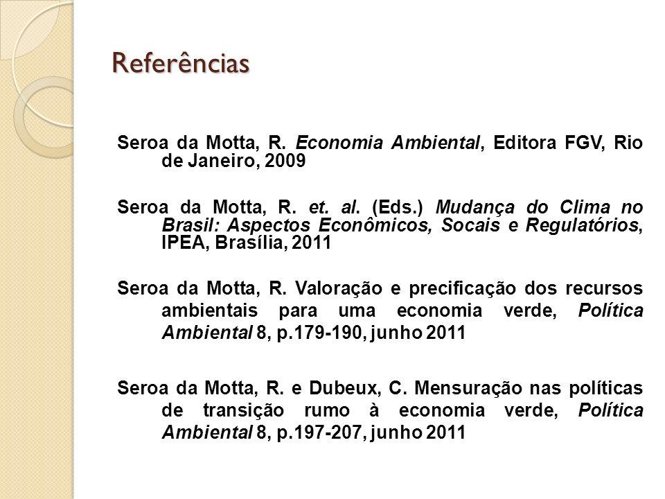 Referências Seroa da Motta, R. Economia Ambiental, Editora FGV, Rio de Janeiro, 2009 Seroa da Motta, R. et. al. (Eds.) Mudança do Clima no Brasil: Asp