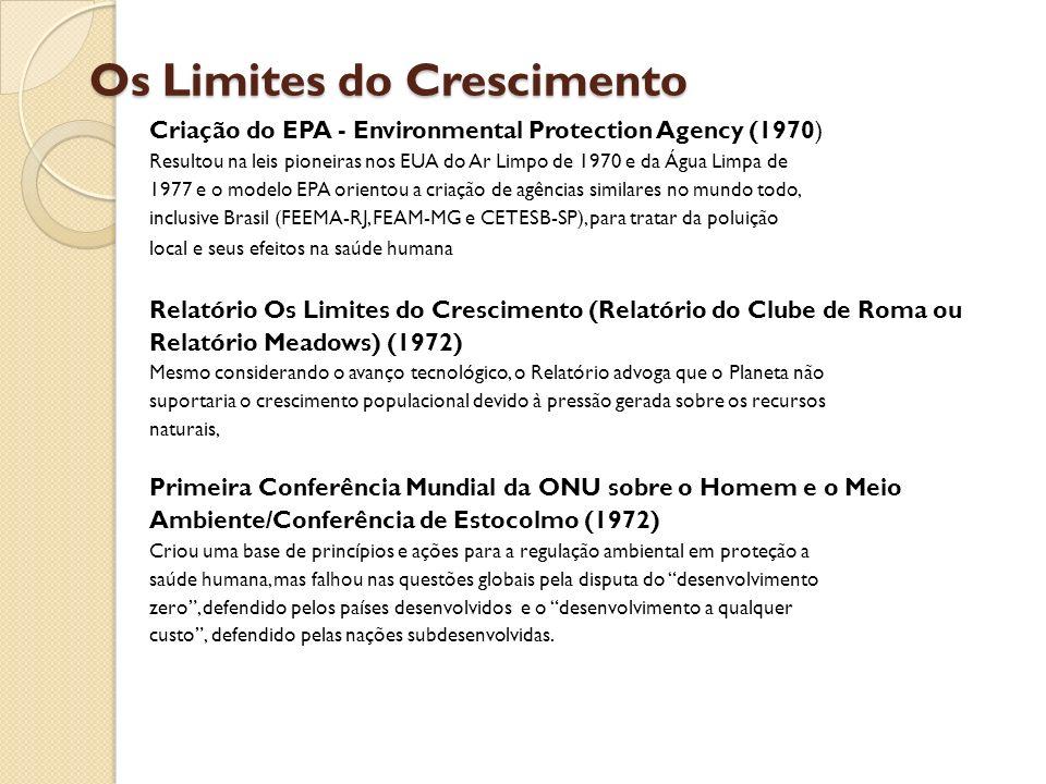 Os Limites do Crescimento Criação do EPA - Environmental Protection Agency (1970) Resultou na leis pioneiras nos EUA do Ar Limpo de 1970 e da Água Lim