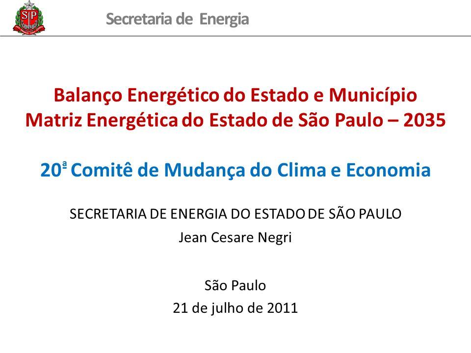 Secretaria de Energia Balanço Energético do Estado e Município Matriz Energética do Estado de São Paulo – 2035 20 ª Comitê de Mudança do Clima e Econo