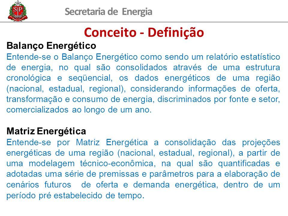 Secretaria de Energia Conceito - Definição Balanço Energético Entende-se o Balanço Energético como sendo um relatório estatístico de energia, no qual