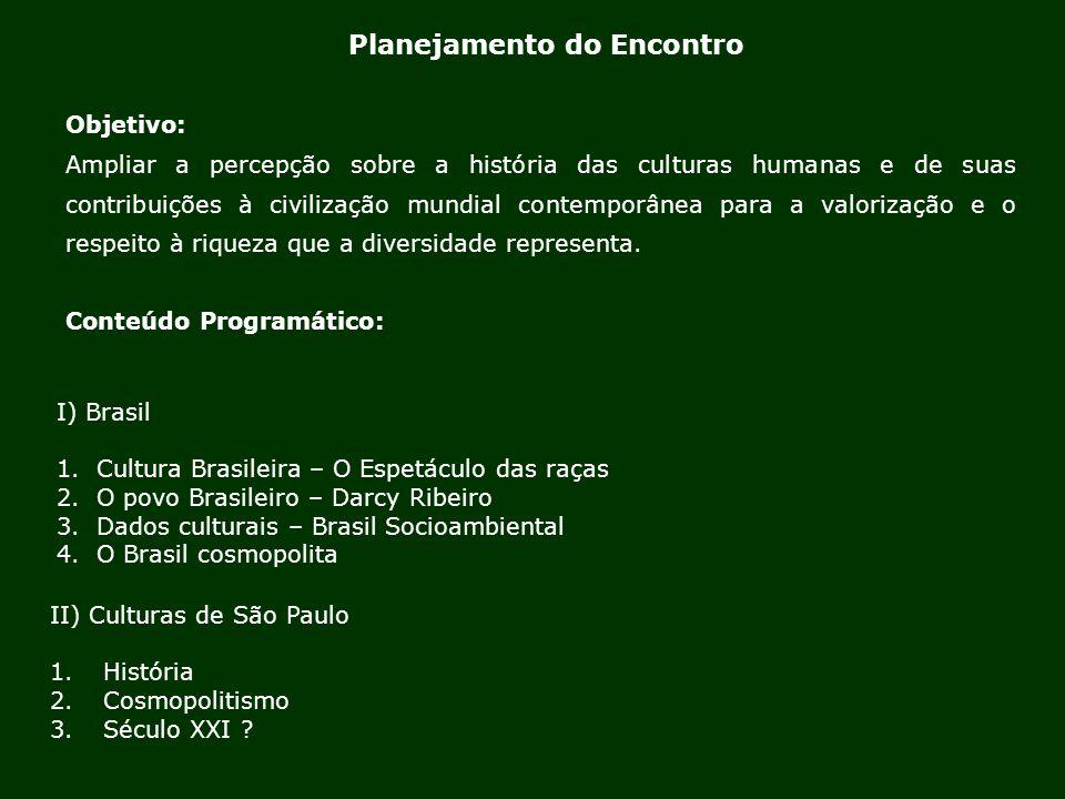Planejamento do Encontro II) Culturas de São Paulo 1.História 2.Cosmopolitismo 3.Século XXI ? Objetivo: Ampliar a percepção sobre a história das cultu