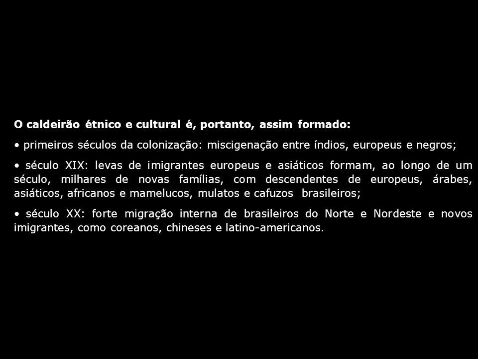 O caldeirão étnico e cultural é, portanto, assim formado: primeiros séculos da colonização: miscigenação entre índios, europeus e negros; século XIX: