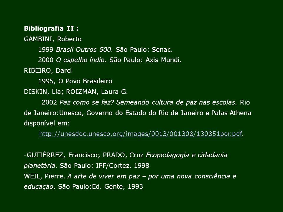 Bibliografia II : GAMBINI, Roberto 1999 Brasil Outros 500. São Paulo: Senac. 2000 O espelho índio. São Paulo: Axis Mundi. RIBEIRO, Darci 1995, O Povo