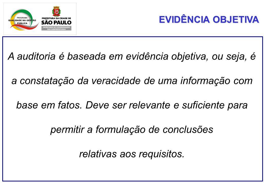 A auditoria é baseada em evidência objetiva, ou seja, é a constatação da veracidade de uma informação com base em fatos. Deve ser relevante e suficien