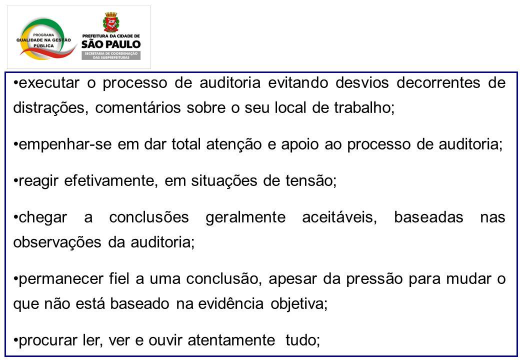 executar o processo de auditoria evitando desvios decorrentes de distrações, comentários sobre o seu local de trabalho; empenhar-se em dar total atenç