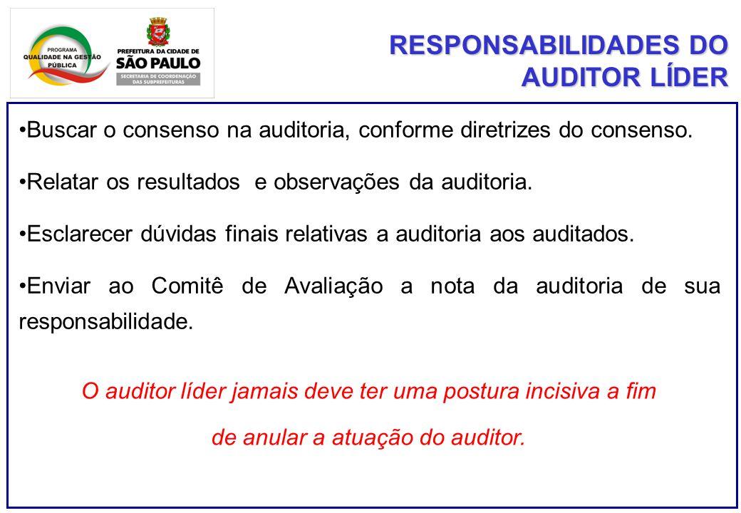 RESPONSABILIDADES DO AUDITOR LÍDER Buscar o consenso na auditoria, conforme diretrizes do consenso. Relatar os resultados e observações da auditoria.