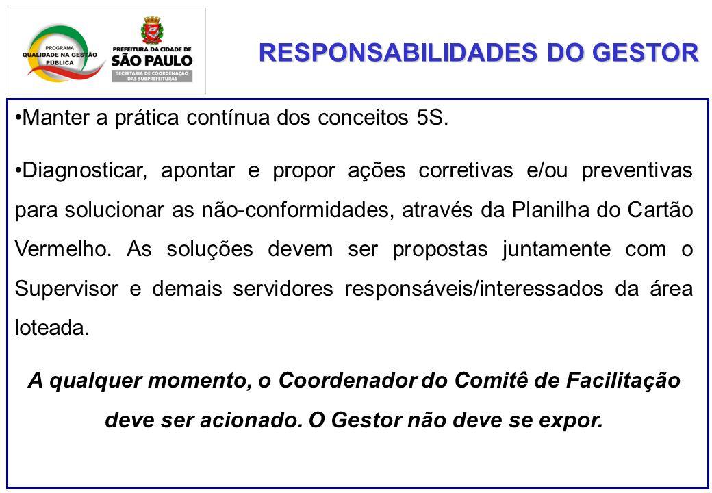RESPONSABILIDADES DO GESTOR Manter a prática contínua dos conceitos 5S.