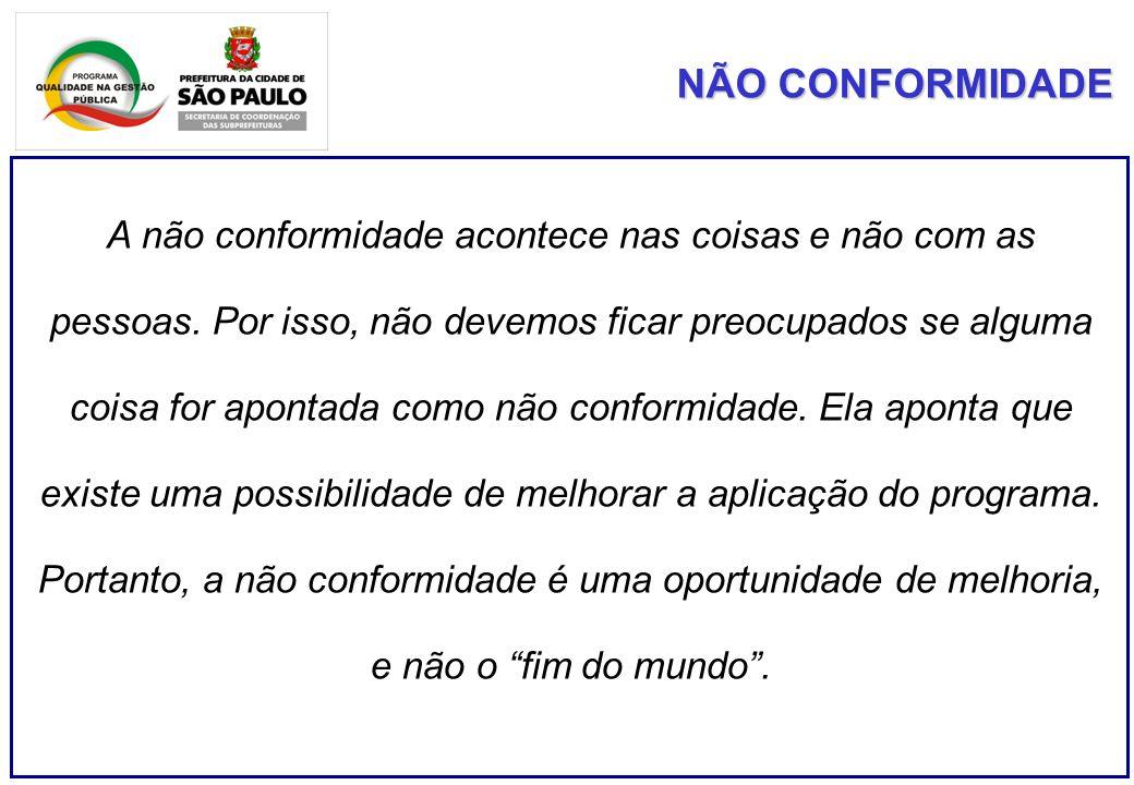 A não conformidade acontece nas coisas e não com as pessoas.