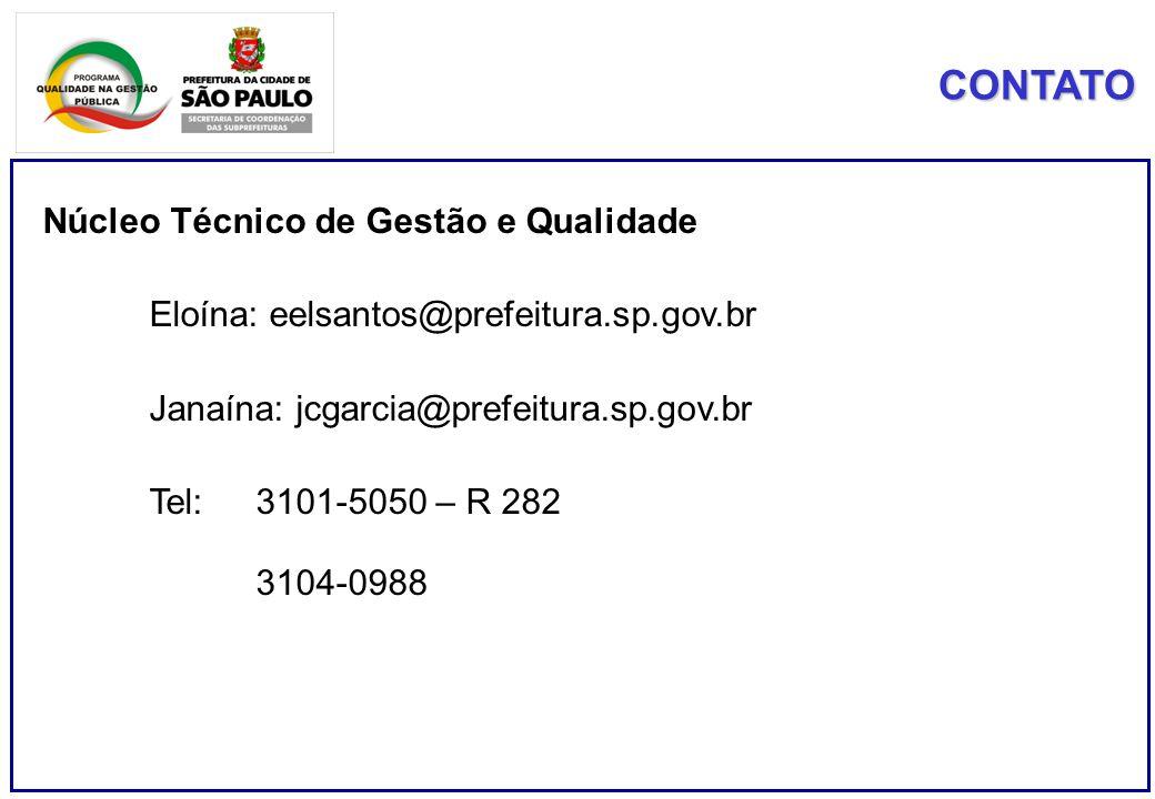 CONTATO Núcleo Técnico de Gestão e Qualidade Eloína: eelsantos@prefeitura.sp.gov.br Janaína: jcgarcia@prefeitura.sp.gov.br Tel: 3101-5050 – R 282 3104