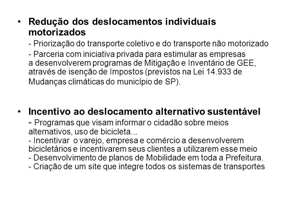 Redução dos deslocamentos individuais motorizados - Priorização do transporte coletivo e do transporte não motorizado - Parceria com iniciativa privad