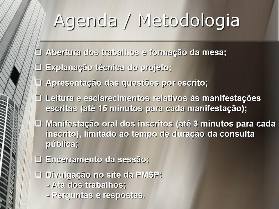 Agenda / Metodologia Abertura dos trabalhos e formação da mesa; Abertura dos trabalhos e formação da mesa; Explanação técnica do projeto; Explanação t