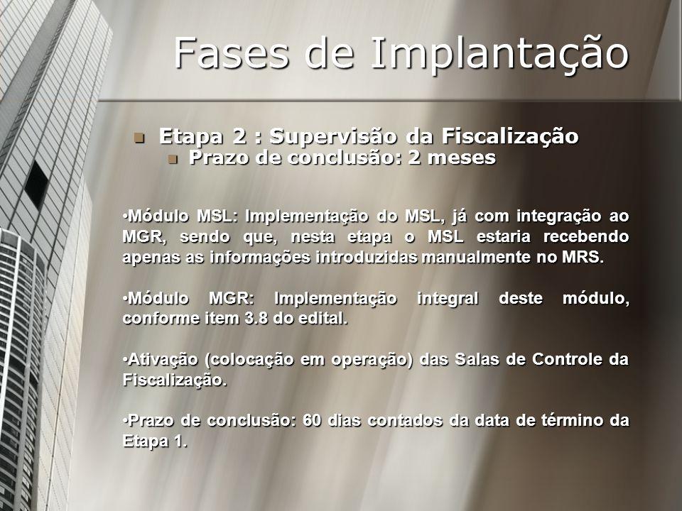 Fases de Implantação Etapa 2 : Supervisão da Fiscalização Etapa 2 : Supervisão da Fiscalização Prazo de conclusão: 2 meses Prazo de conclusão: 2 meses