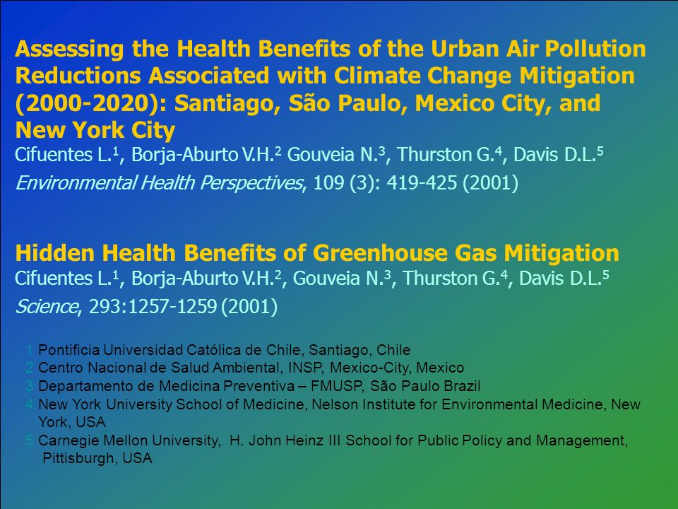 Assessing the Health Benefits of the Urban Air Pollution Reductions Associated with Climate Change Mitigation (2000-2020): Santiago, São Paulo, Mexico