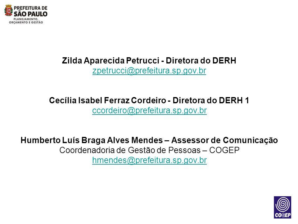 Zilda Aparecida Petrucci - Diretora do DERH zpetrucci@prefeitura.sp.gov.br Cecília Isabel Ferraz Cordeiro - Diretora do DERH 1 ccordeiro@prefeitura.sp