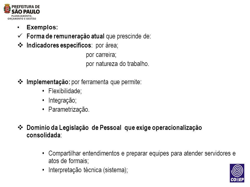 Exemplos: Forma de remuneração atual que prescinde de: Indicadores específicos : por área; por carreira; por natureza do trabalho. Implementação: por