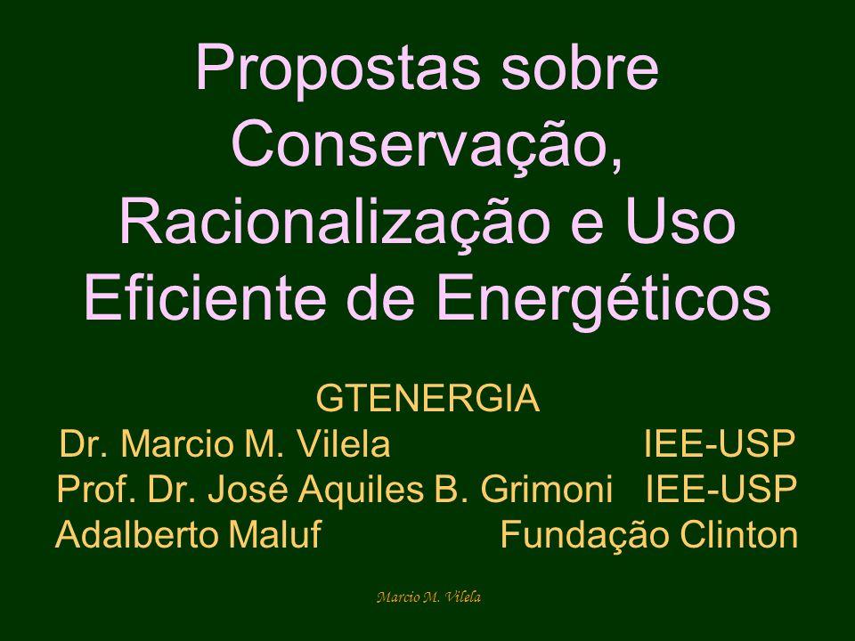 Marcio M. Vilela Propostas sobre Conservação, Racionalização e Uso Eficiente de Energéticos GTENERGIA Dr. Marcio M. Vilela IEE-USP Prof. Dr. José Aqui