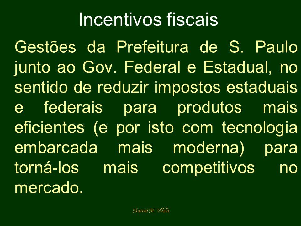 Marcio M. Vilela Incentivos fiscais Gestões da Prefeitura de S. Paulo junto ao Gov. Federal e Estadual, no sentido de reduzir impostos estaduais e fed