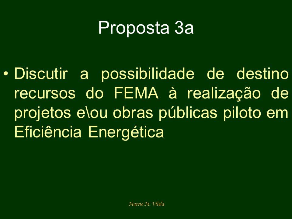Marcio M. Vilela Proposta 3a Discutir a possibilidade de destino recursos do FEMA à realização de projetos e\ou obras públicas piloto em Eficiência En