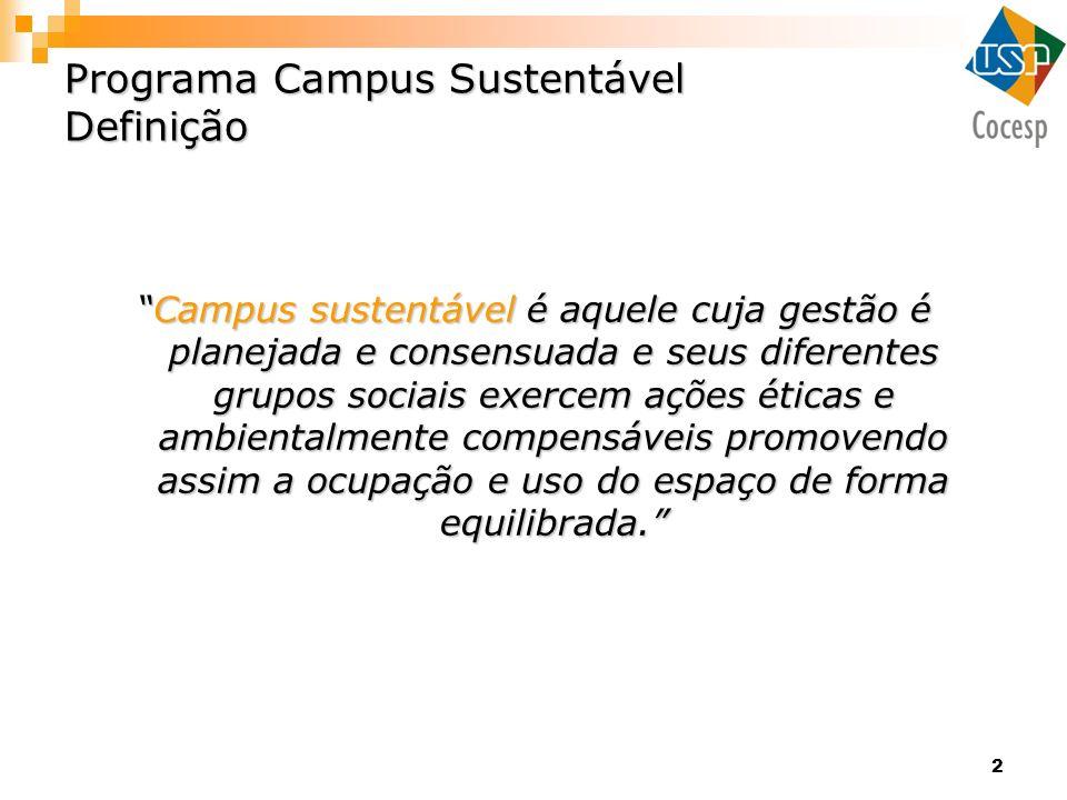 2 Programa Campus Sustentável Definição Campus sustentávelé aquele cuja gestão é planejada e consensuada e seus diferentes grupos sociais exercem açõe