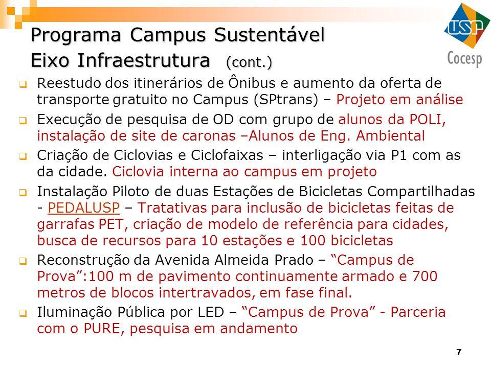 7 Programa Campus Sustentável Eixo Infraestrutura (cont.) Reestudo dos itinerários de Ônibus e aumento da oferta de transporte gratuito no Campus (SPt