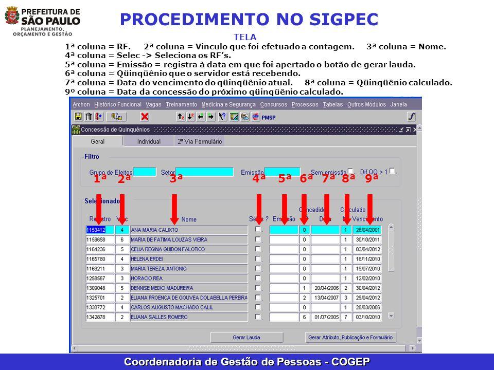 Coordenadoria de Gestão de Pessoas - COGEP PROCEDIMENTO NO SIGPEC TELA 1ª coluna = RF. 2ª coluna = Vinculo que foi efetuado a contagem. 3ª coluna = No