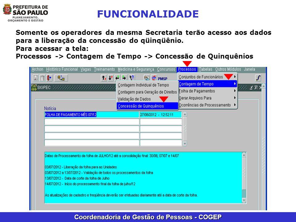 Coordenadoria de Gestão de Pessoas - COGEP FUNCIONALIDADE Somente os operadores da mesma Secretaria terão acesso aos dados para a liberação da concess