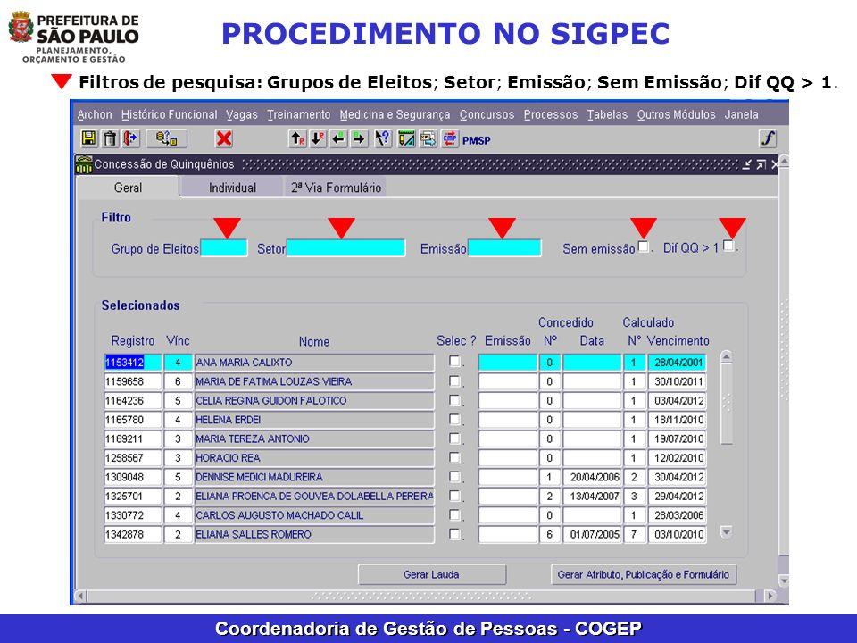 Coordenadoria de Gestão de Pessoas - COGEP PROCEDIMENTO NO SIGPEC Filtros de pesquisa: Grupos de Eleitos; Setor; Emissão; Sem Emissão; Dif QQ > 1.