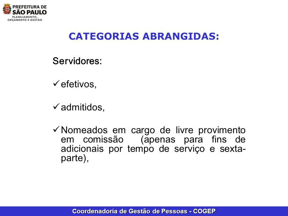 Coordenadoria de Gestão de Pessoas - COGEP CATEGORIAS ABRANGIDAS: Servidores: efetivos, admitidos, Nomeados em cargo de livre provimento em comissão (