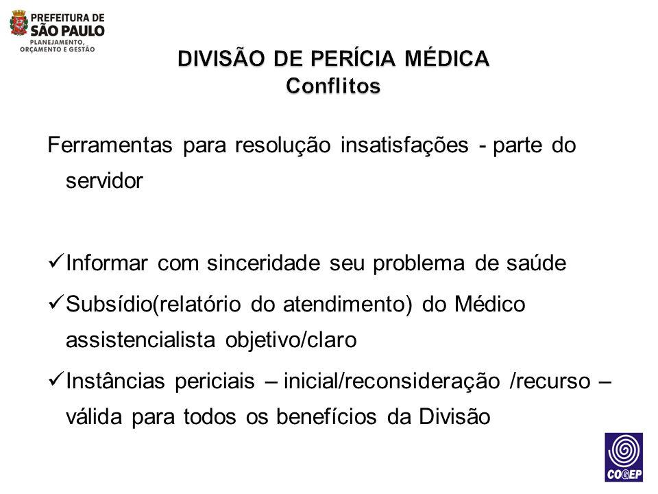 Ferramentas para resolução insatisfações - parte do servidor Informar com sinceridade seu problema de saúde Subsídio(relatório do atendimento) do Médi