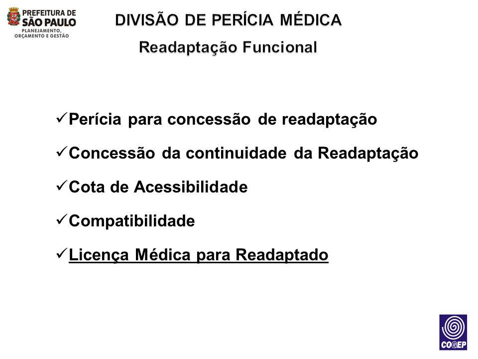 Perícia para concessão de readaptação Concessão da continuidade da Readaptação Cota de Acessibilidade Compatibilidade Licença Médica para Readaptado