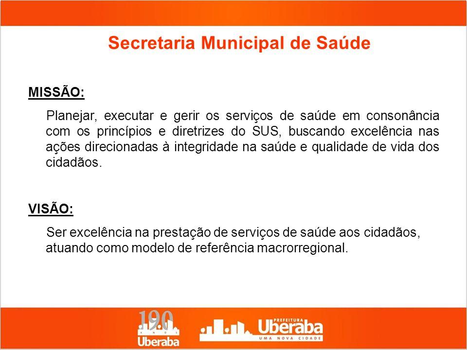 Secretaria Municipal de Saúde MISSÃO: Planejar, executar e gerir os serviços de saúde em consonância com os princípios e diretrizes do SUS, buscando e