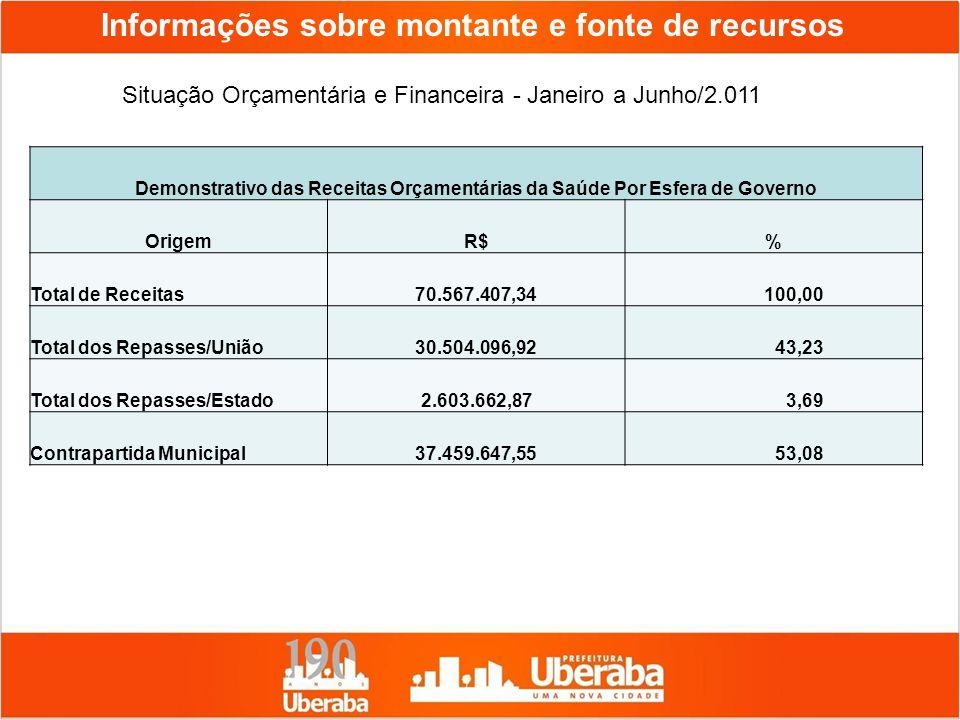 Informações sobre montante e fonte de recursos Situação Orçamentária e Financeira - Janeiro a Junho/2.011 Demonstrativo das Receitas Orçamentárias da