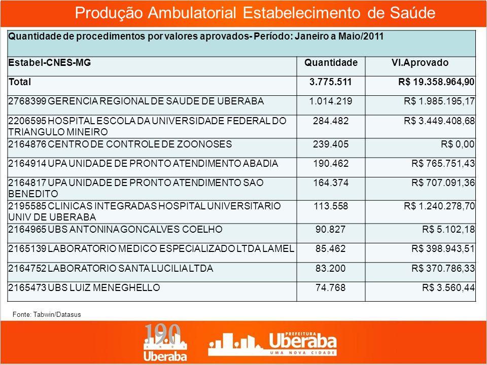 Produção Ambulatorial Estabelecimento de Saúde Quantidade de procedimentos por valores aprovados- Período: Janeiro a Maio/2011 Estabel-CNES-MGQuantida