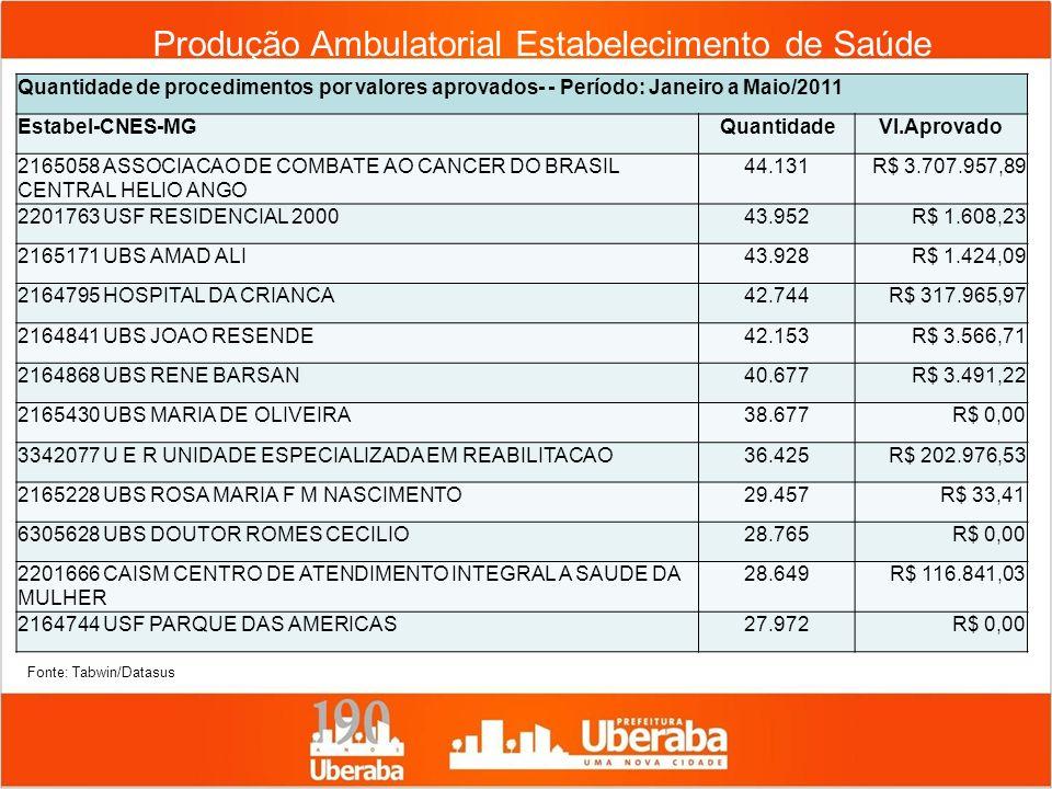 Produção Ambulatorial Estabelecimento de Saúde Quantidade de procedimentos por valores aprovados- - Período: Janeiro a Maio/2011 Estabel-CNES-MGQuanti
