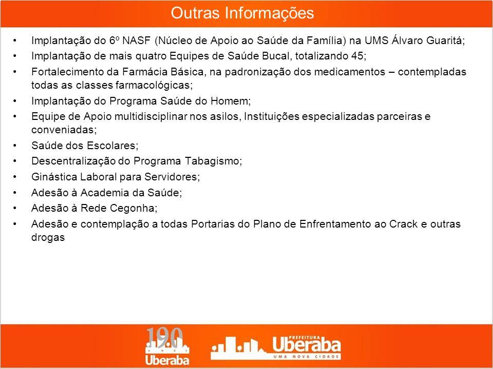 Implantação do 6º NASF (Núcleo de Apoio ao Saúde da Família) na UMS Álvaro Guaritá; Implantação de mais quatro Equipes de Saúde Bucal, totalizando 45;