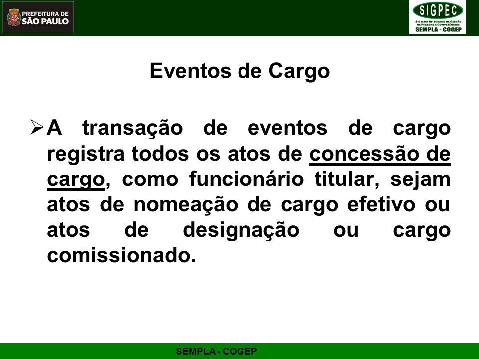 SEMPLA - COGEP Eventos de Cargo A transação de eventos de cargo registra todos os atos de concessão de cargo, como funcionário titular, sejam atos de