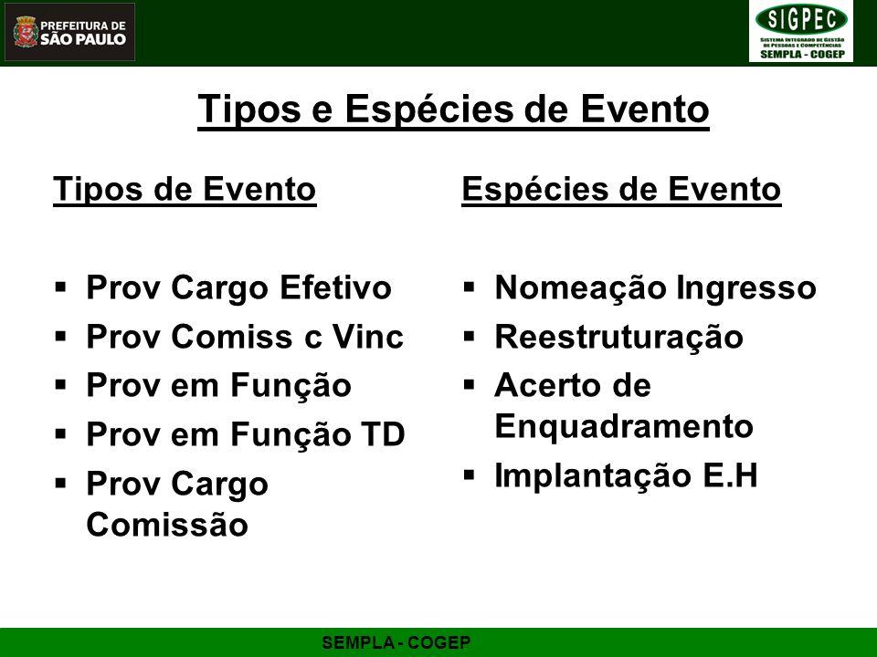Tipos e Espécies de Evento Tipos de Evento Prov Cargo Efetivo Prov Comiss c Vinc Prov em Função Prov em Função TD Prov Cargo Comissão Espécies de Even