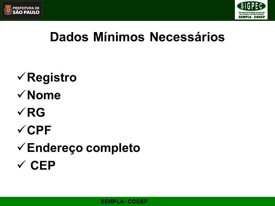 SEMPLA - COGEP Dados Mínimos Necessários Registro Nome RG CPF Endereço completo CEP