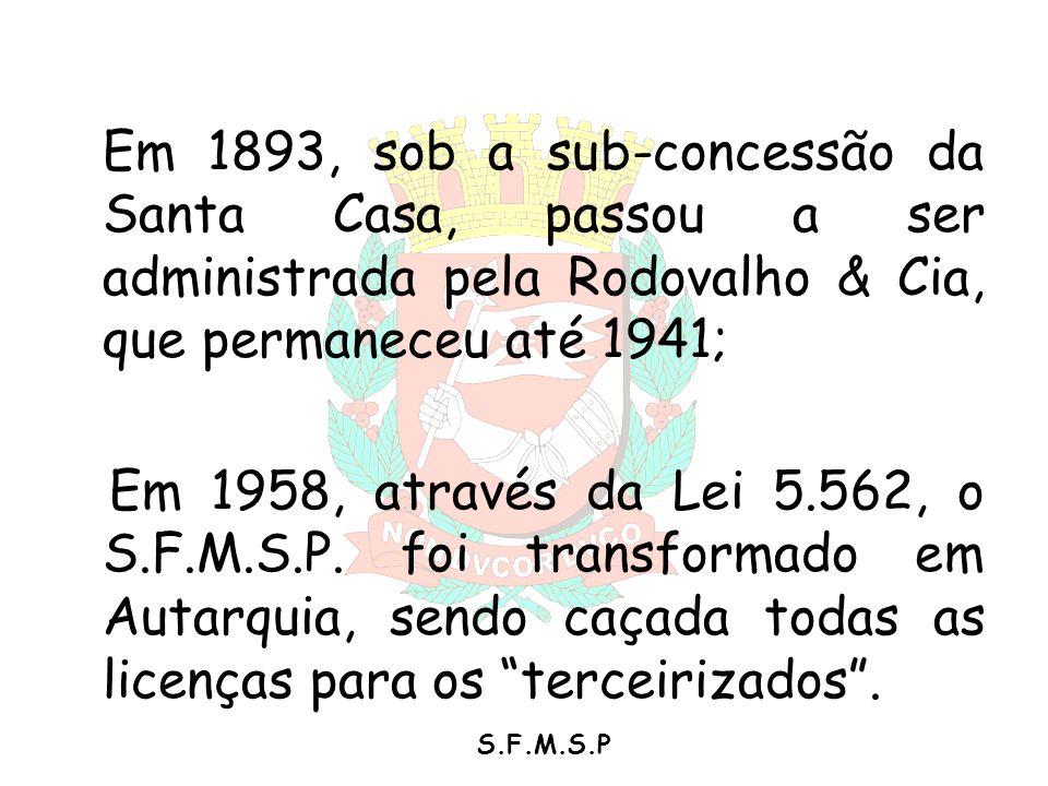 S.F.M.S.P Em 1893, sob a sub-concessão da Santa Casa, passou a ser administrada pela Rodovalho & Cia, que permaneceu até 1941; Em 1958, através da Lei