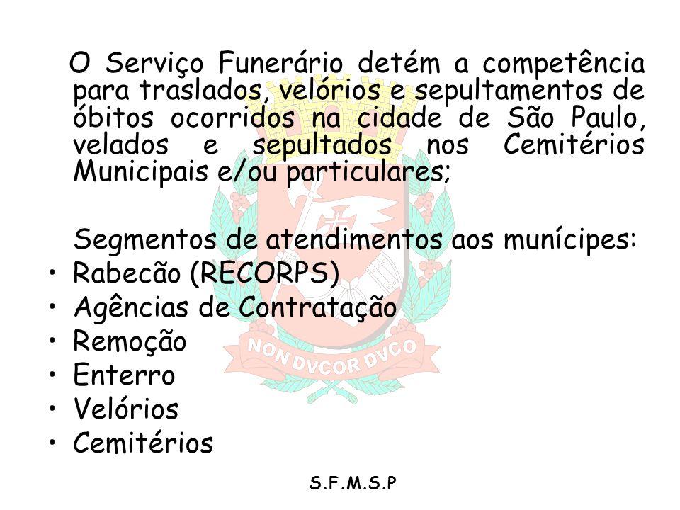 S.F.M.S.P O Serviço Funerário detém a competência para traslados, velórios e sepultamentos de óbitos ocorridos na cidade de São Paulo, velados e sepul