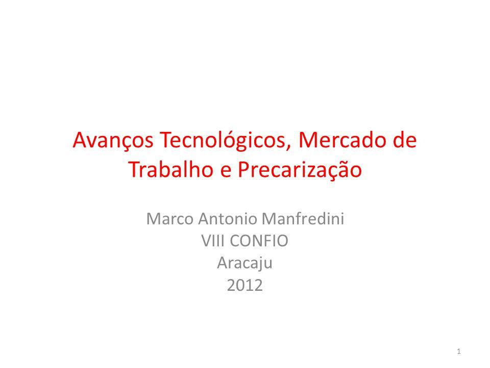 Avanços Tecnológicos, Mercado de Trabalho e Precarização Marco Antonio Manfredini VIII CONFIO Aracaju 2012 1