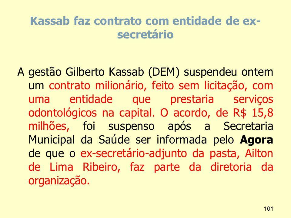 Kassab faz contrato com entidade de ex- secretário A gestão Gilberto Kassab (DEM) suspendeu ontem um contrato milionário, feito sem licitação, com uma