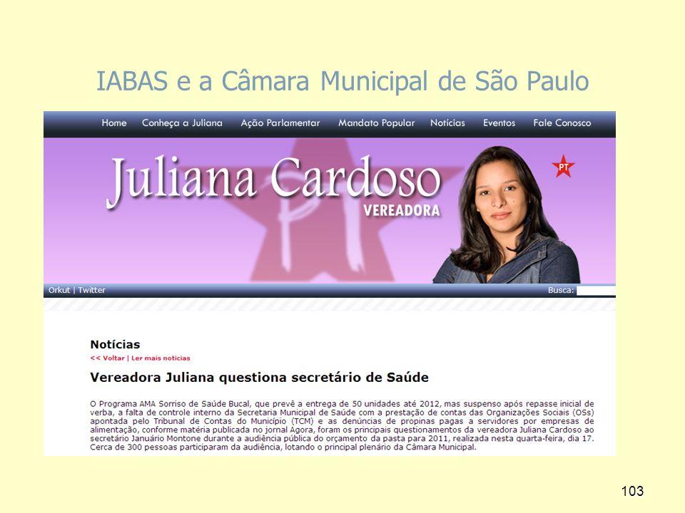 IABAS e a Câmara Municipal de São Paulo 103