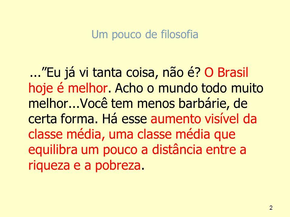 Um pouco de filosofia...Eu já vi tanta coisa, não é? O Brasil hoje é melhor. Acho o mundo todo muito melhor...Você tem menos barbárie, de certa forma.