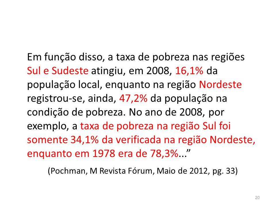 Em função disso, a taxa de pobreza nas regiões Sul e Sudeste atingiu, em 2008, 16,1% da população local, enquanto na região Nordeste registrou-se, ain
