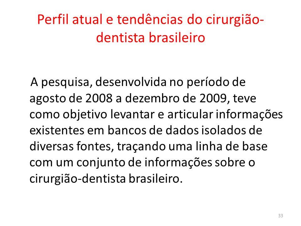 Perfil atual e tendências do cirurgião- dentista brasileiro A pesquisa, desenvolvida no período de agosto de 2008 a dezembro de 2009, teve como objeti