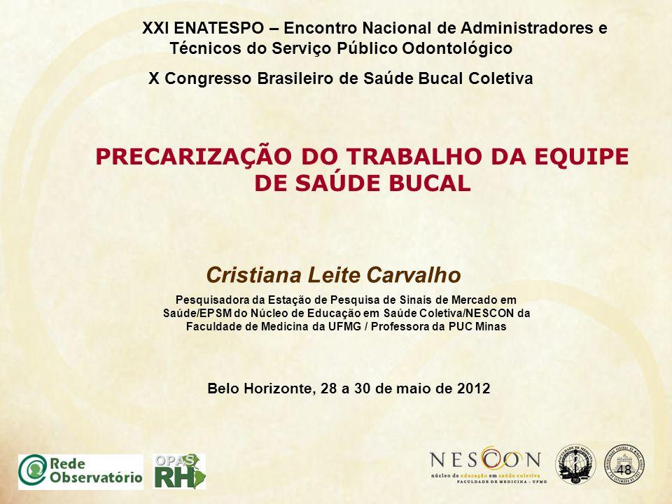 Cristiana Leite Carvalho PRECARIZAÇÃO DO TRABALHO DA EQUIPE DE SAÚDE BUCAL XXI ENATESPO – Encontro Nacional de Administradores e Técnicos do Serviço P