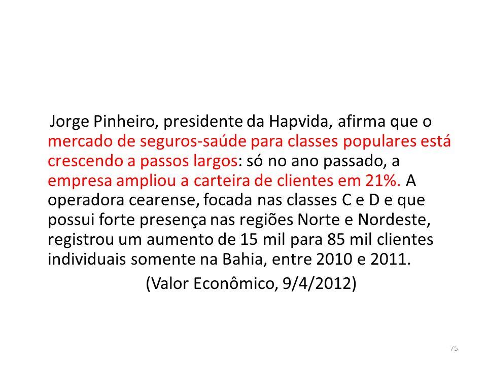 Jorge Pinheiro, presidente da Hapvida, afirma que o mercado de seguros-saúde para classes populares está crescendo a passos largos: só no ano passado,